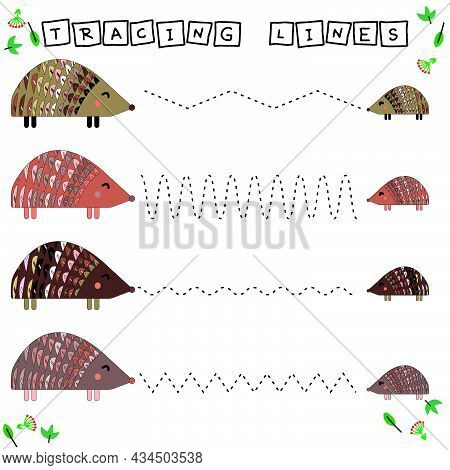 Tracing Lines Game With Funny Animals Hedgehog. Worksheet For Preschool Kids, Kids Activity Sheet, P