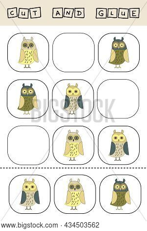 Sudoku For Kids With Funny Forest Animals Owls. Children's Puzzles. Preschool Worksheet, Kids Activi