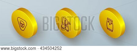 Set Isometric Line Guitar Pick, Metronome With Pendulum And Conga Drums Icon. Vector