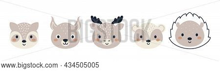 Set Of Cute Woodland Animal Heads In Scandinavian Style. Collection Funny Animals Characters For Kid