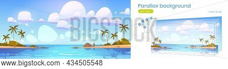 Tropical Landscape With Sea Bay And Palm Trees On Beach. Vector Parallax Background For 2d Animation