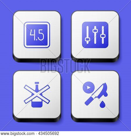 Set Rating Movie, Sound Mixer Controller, No Alcohol And Thriller Icon. White Square Button. Vector