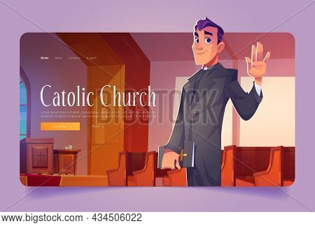Catholic Church Banner With Pastor Holding Holy Bible. Vector Landing Page With Cartoon Cathedral In