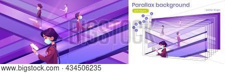 Parallax 2d Background People In Medical Masks On Escalators In Mall. Moving Staircase Carrying Men