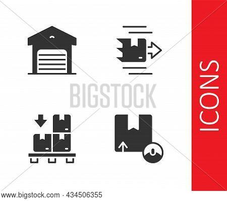 Set Carton Cardboard Box, Warehouse, Cardboard Boxes Pallet And Icon. Vector