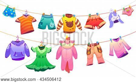 Kids Fashion Garment For Boys And Girls Hanging On Clothes Line. Vector Cartoon Illustration Of Cute