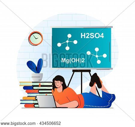 Education Concept In Modern Flat Design. Student Studying Lesson At Laptop. Woman Is Reading Textboo