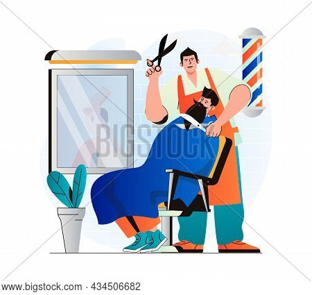 Barbershop Concept In Modern Flat Design. Hairdresser Cutting Client Hair And Shaving Beard In Male