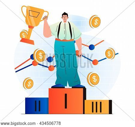 Business Award Concept In Modern Flat Design. Businessman Holds Gold Cup, Won First Place In Competi