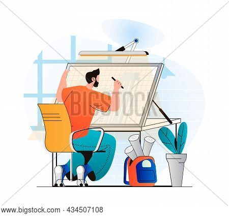 Construction Engineer Concept In Modern Flat Design. Architect Drawing Blueprint For Building. Exper