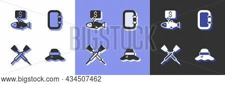 Set Fisherman Hat, Price Tag For Fish, Crossed Oars Paddles Boat And Carabiner Icon. Vector