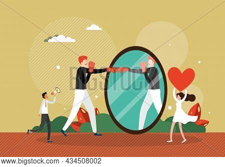 Man Boxing With His Reflection In Mirror, Flat Vector Illustration. Fighting With Yourself. Battle A
