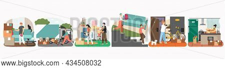 People Move To New House, Pack Things In Cardboard Boxes, Loaders Carrying Sofa, Vector Illustration