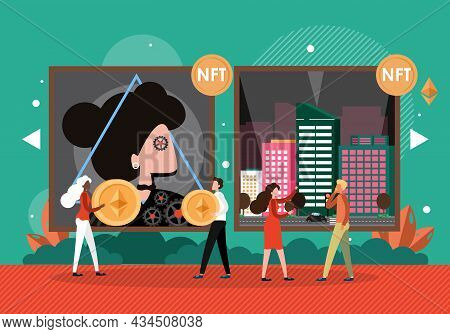 Nft Artists Selling Digital Artworks To Buyers, Vector Illustration. Crypto Art. Nft Technology. Eth
