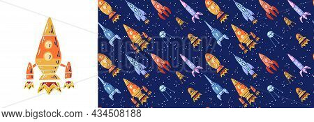 Set Of Card With Rocket And Seamless Pattern With Cartoon Contour Space Ships And Ufo Flying Diagona