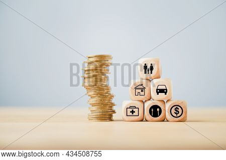 Family Icon On Top Of Block Pyramid With Stack Of Coins On Wood, Forfamily Insurance , Home Sweet Ho