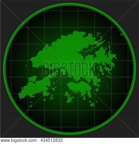 Template Vector Map Outline Hong-kong On Radar