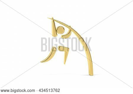 Golden 3d Pole Vault Icon Isolated On White Background - 3d Render