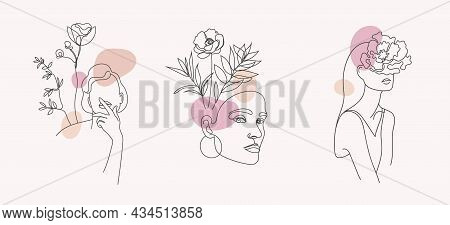 Vector Set Of Women Faces, Bodies Line Art Illustrations, Logos With Flowers And Leaves, Feminine Na