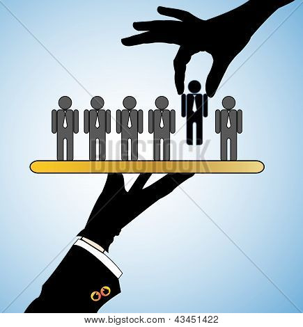 Concept Illustration Of Best Choice: Row Of Candidates Or Employees Or People With A Single Candidat