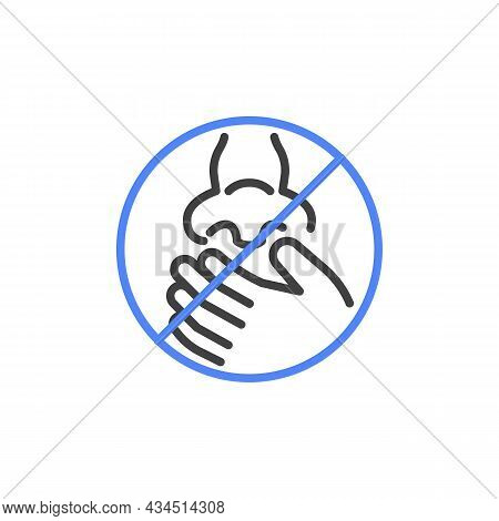 Do Not Touch Nose Line Icon. Linear Style Sign For Mobile Concept And Web Design. Stop Touching Nose