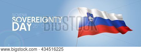 Slovenia Sovereignty Day Greeting Card, Banner With Template Text Vector Illustration
