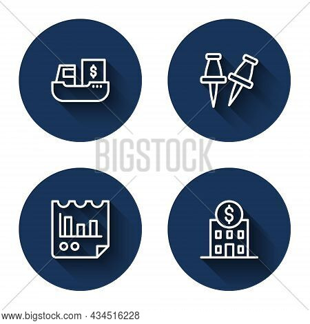 Set Line Cargo Ship With Boxes Delivery, Push Pin, Document Graph Chart And Bank Building With Long
