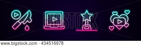 Set Line Thriller Movie, Online Play Video, Movie Trophy And Romantic. Glowing Neon Icon. Vector