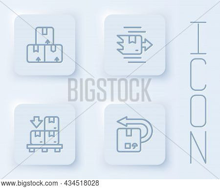 Set Line Carton Cardboard Box, Cardboard Boxes Pallet And Return. White Square Button. Vector
