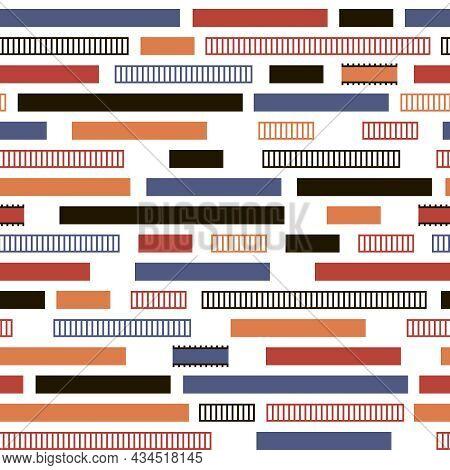 Seamless Abstract Pattern (bricks, Stripes, Graph, Button, Bar)