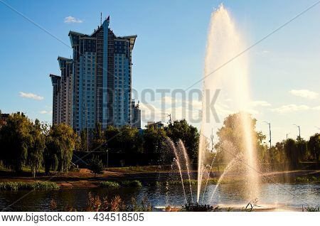 Scenic Landscape Of Fountain In The City Channel Near Rusanovka Neighborhood At Sunny Day. New High-