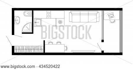 Apartment Floor Plan. Vector Architecture Micro Studio Plan Of Condominium, Flat, House. 2d Micro St