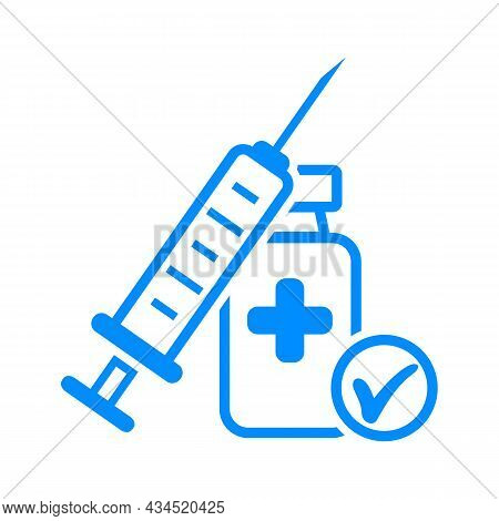 Vaccine Icon Drawing In Outline Style. Contour Syringe Sign With Needle And Medication.