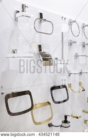 Assortment Of Accessories Bathroom Household Goods, Shelves, Towel And Toilet Paper Holders, Toilet