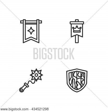 Set Line Shield, Mace With Spikes, Medieval Flag And Icon. Vector