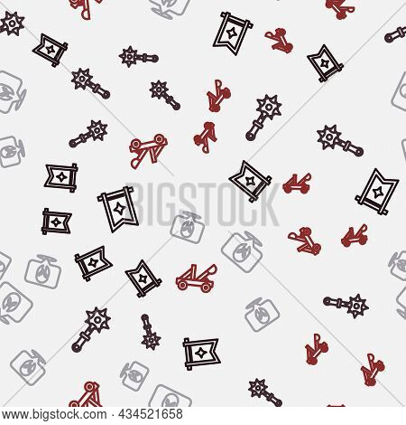 Set Line Medieval Flag, Mace With Spikes, Helmet And Catapult On Seamless Pattern. Vector