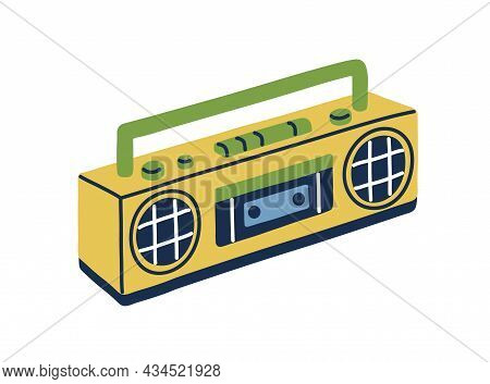 Retro Tape Recorder In 80s And 90s Style. Cassette Audio Player With Loudspeakers And Handle. 1980s
