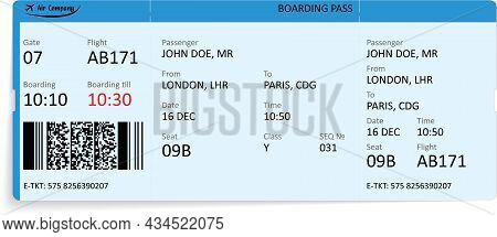 Blue Boarding Pass Ticket With Aircraft Silhouette On Background. Concept Of Traveling By Aerial Tra