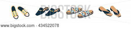 Summer Female Footwear Set. Fashion Open Shoe Pairs. Modern Sneakers, Trendy Mules, Women Sandals An