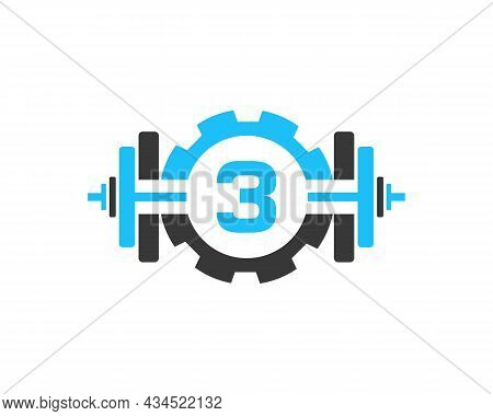 Fitness Gym Logo On Letter 3. Fitness Club Icon With Exercising Equipment. Initial Alphabet Letter 3
