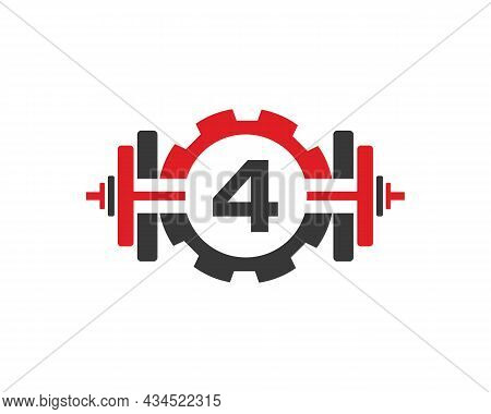 Fitness Gym Logo On Letter 4. Fitness Club Icon With Exercising Equipment. Initial Alphabet Letter 4