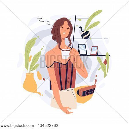 Sleepy Tired Person Waking Up With Coffee Cup. Drowsy Woman With Hot Tea At Home. Hard Daily Morning