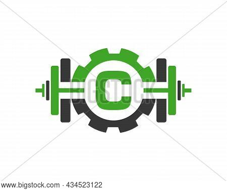 Fitness Gym Logo On Letter C. Fitness Club Icon With Exercising Equipment. Initial Alphabet Letter C