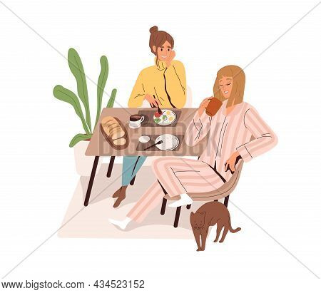 Women Friends Eating And Talking At Dining Table. Happy Relaxed Girlfriends Chatting At Breakfast At