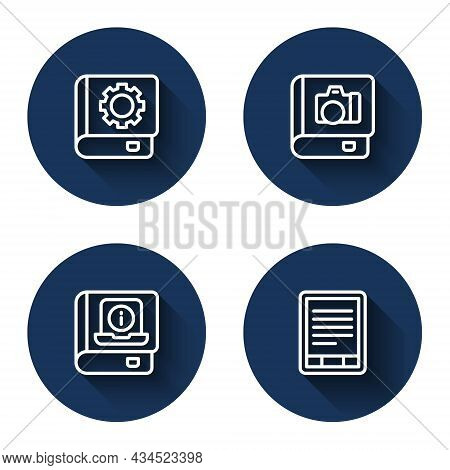 Set Line User Manual, Photo Album Gallery, And E-book Reader With Long Shadow. Blue Circle Button. V