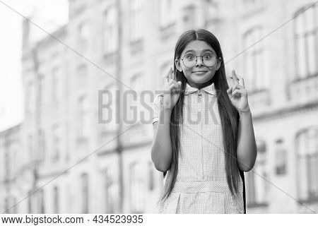 Superstitious Kid With Long Hair In Glasses Make Wish Crossing Fingers For Luck, Superstition, Copy