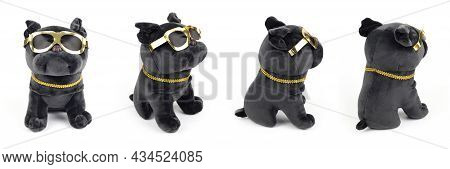 Plush Soft Black Pug Dog Toy With Golden Sun Glasses Isolated On White Background. Closeup, Front Vi