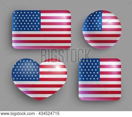Usa Flag Glossy Buttons Of Geometric Shape Set. United States Of America Country National Flag Shiny