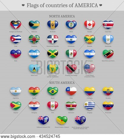 Flags Of Countries Of America Heart Shape Buttons Set. North And South America Official National Fla