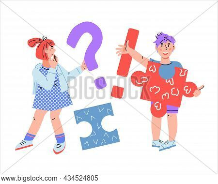 Children Asking And Getting Answers. Confused Girl Having Question And Cheerful Boy Got An Answer, F